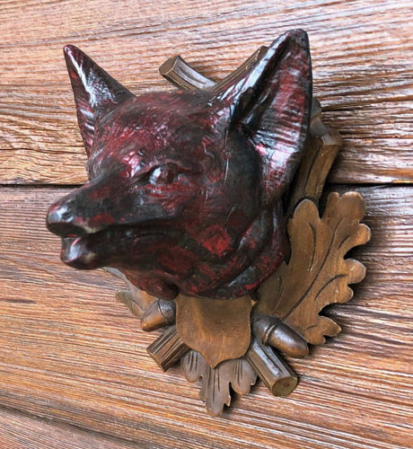Black Forest Fox Head Carving